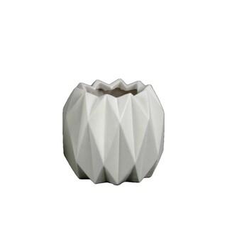UTC21416: Ceramic Round Short Vase with Uneven Lip and Ribbed Body Design Matte Finish White