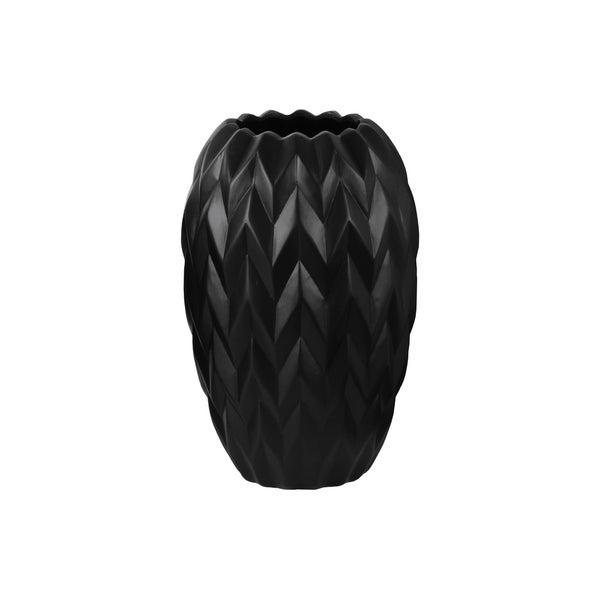 UTC21426: Ceramic Round Vase with Round Lip, Embossed Wave Design and Rounded Bottom LG Gloss Finish Black