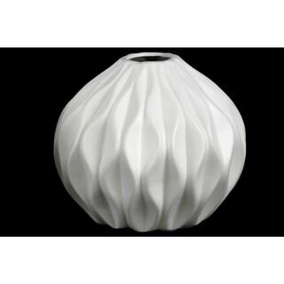 Matte White Ceramic Round Low Embossed Wave Round Small Lip Vase