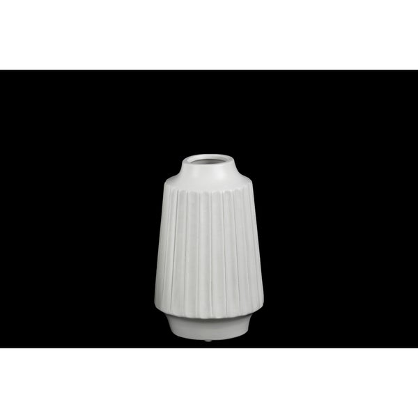 Matte White Ceramic Small Ribbed Round Lip Round Vase