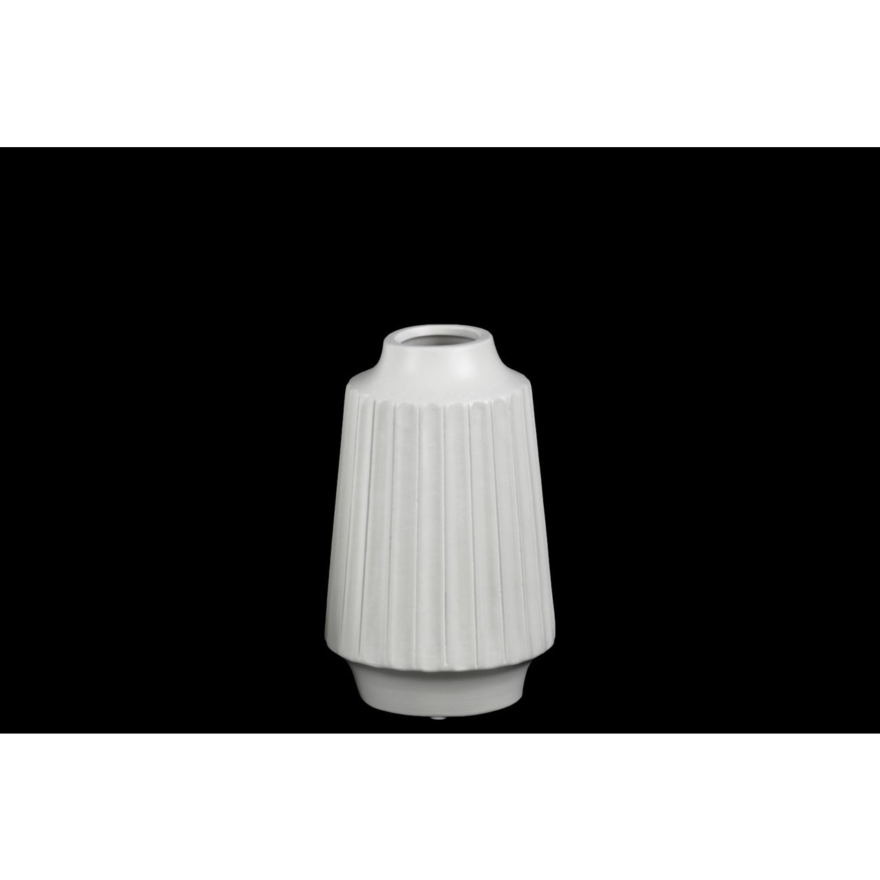 Matte White Ceramic Small Ribbed Round Lip Round Vase (Ceramic Vase Matte Finish White)