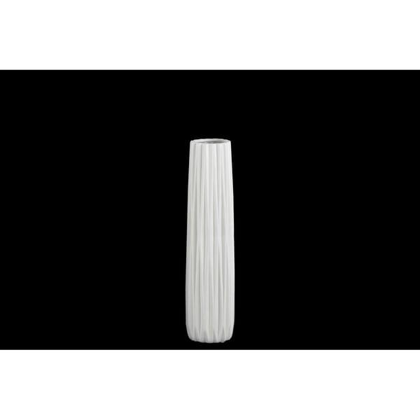 UTC21421: Ceramic Elongated Round Vase with Round Lip and Ribbed Design Body MD Matte Finish White