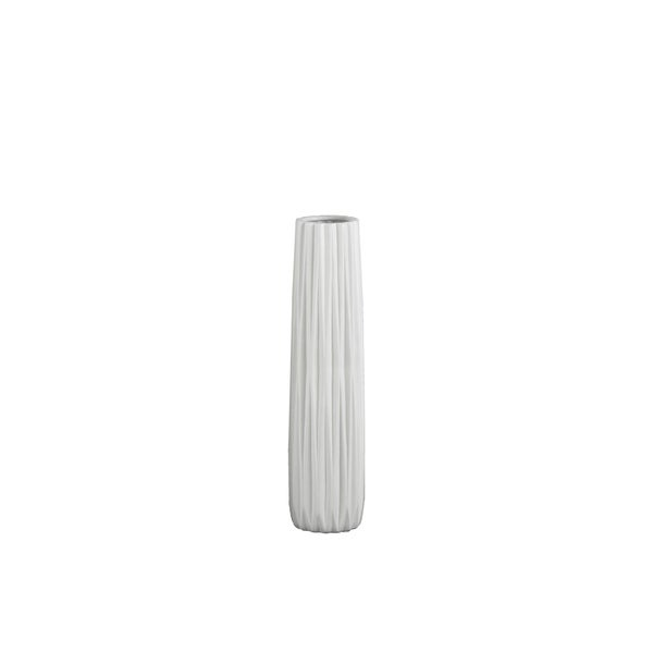 UTC21421: Ceramic Elongated Round Vase with Round Lip and Ribbed Design Body MD Matte Finish White