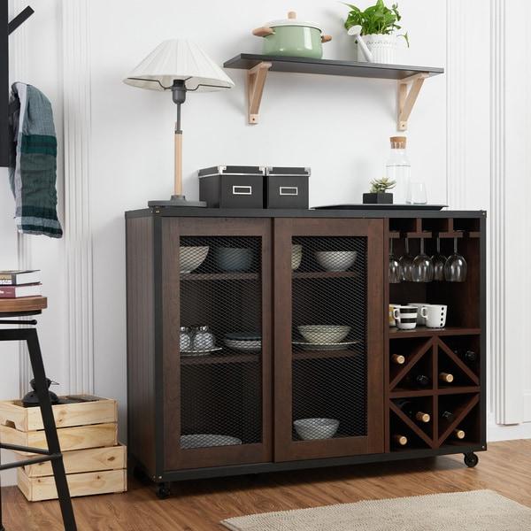Furniture of america misenia walnut sliding door buffet for Furniture of america gelenan industrial cement like multi storage buffet