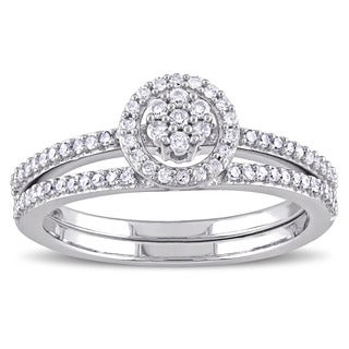 Miadora 10k White Gold 1/3ct TDW Diamond Cluster Halo Bridal Ring Set