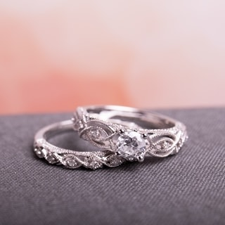 Miadora Signature Collection 10k White Gold 3/4ct TDW Diamond Vintage Filigree Bridal Ring Set