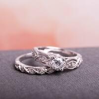 Miadora Signature Collection 10k White Gold 3/4ct TDW Diamond Vintage Filigree Bridal Ring Set