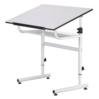 Offex Universal Design White Gallery Drafting and Hobby Craft Table