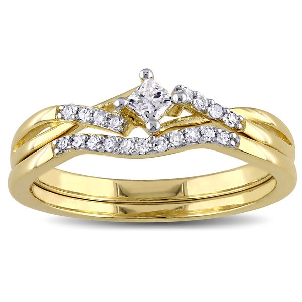 Miadora Yellow Plated Sterling Silver 1/5ct TDW Princess-cut Diamond Bypass Bridal Ring Set