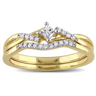 Miadora Yellow Plated Sterling Silver 1/5ct TDW Princess-cut Diamond Bypass Bridal Ring Set
