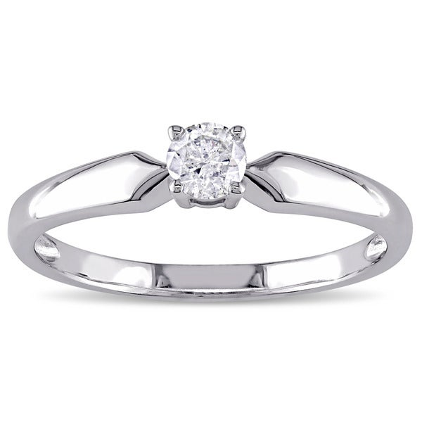 Miadora 10k White Gold 1/5ct TDW Diamond Solitaire Engagement Ring (J-K, I2-I3)