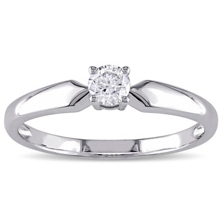 Miadora 10k White Gold 1/5ct TDW Diamond Solitaire Engagement Ring (J-K, I2-I3)