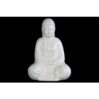 Gloss Finish White Ceramic Meditating Buddha Figurine without Ushnisha in Mida-no Jouin Mudra