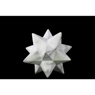 Small Marbleized with Gray Streaks Gloss Finish White Ceramic 12-point Stellated Icosahedron Sculpture