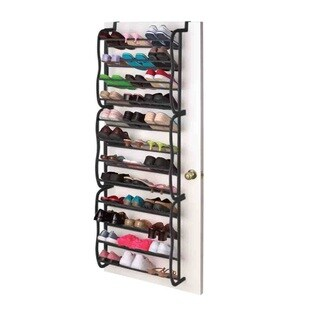 Sunbeam Black Over the Door 36-Pair Shoe Rack