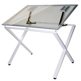 Offex X-Factor Drawing and Hobby Table with Large Glass Top