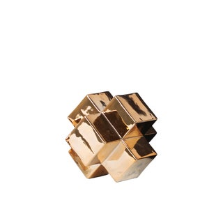 Ceramic Small Polished Chrome Gold Cross Cube Sculpture
