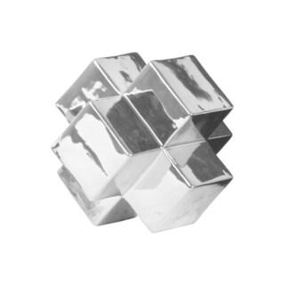 Ceramic Large Polished Chrome Silver Cross Cube Sculpture