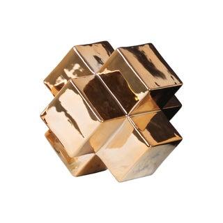 Ceramic Large Polished Chrome Gold Cross Cube Sculpture