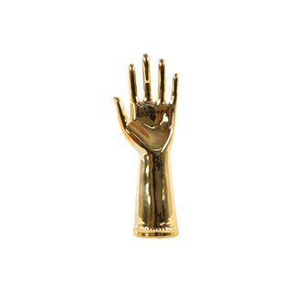 Glossy Gold Finished Ceramic Hand Sculpture in '5' Hand Gesture