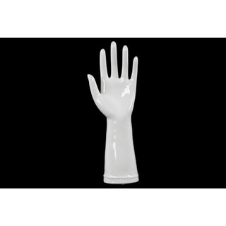 White Glossy Finished Ceramic Hand Sculpture in '5' Hand Gesture