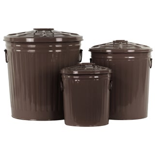 Coated Finish Dark Brown Metal Round Storage with Classic Garbage/ Lid and Side Handles Can Design (Set of 3)