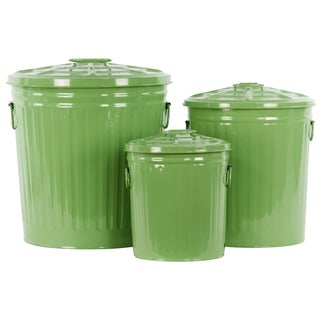 Coated Finish Green Metal Round Storage with Classic Garbage/ Lid and Side Handles Can Design (Set of 3)