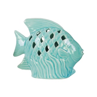 Ceramic Fish Figurine with Fish Scale Shaped Cutout Sides on Seaweed Base Distressed Gloss Finish Light Blue