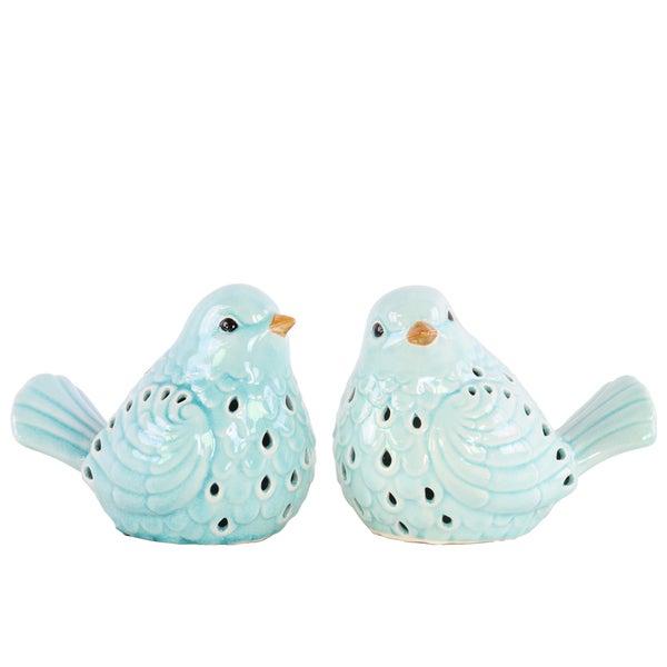 Ceramic Bird Figurine with Cutout Design Assortment of Two Gloss Finish Sky Blue
