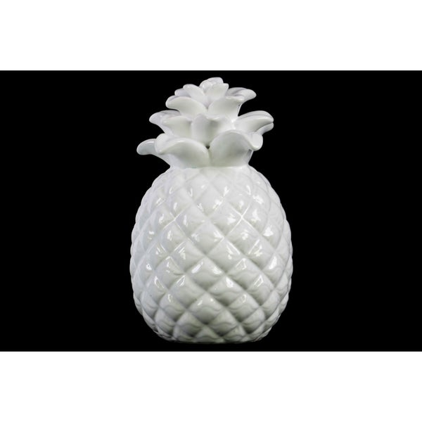 Ceramic Pineapple Figurine with Embossed Lattice Design Gloss Finish White
