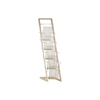 Coated Champagne Finished Iron Magazine Rack with Five Wire Mesh Sides Bins and Easel Stand