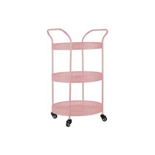 Gloss Pink Metal Round Small 3-tiered Cart with Pierced Metal Sides