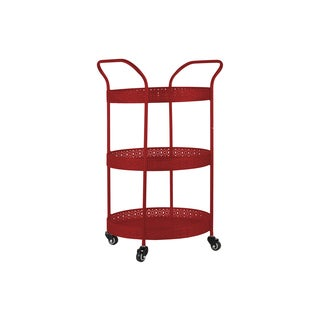 Gloss Red Metal Round Small 3-tiered Cart with Pierced Metal Sides