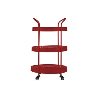 Gloss Red Metal Oval Large 3-tiered Cart with Pierced Metal Sides