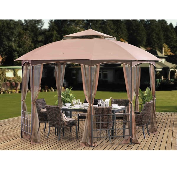 Shop Sunjoy Harley Soft Top Octagon Gazebo With Domed Canopy And Mosquito Netting Patio Outdoor Shade Shelter 12 X 10 Brown On Sale Overstock 11382150