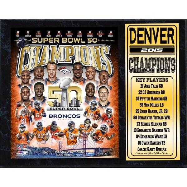 Super Bowl 50 Champion Denver Broncos 12-inch x 15-inch Stat Plaque