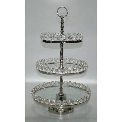 Heim Concept Three-Tier Glass & Nickel Plated Stand with Detachable Crystal Border