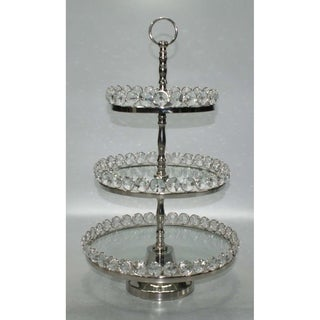 Elegance Three-Tier Glass & Nickel Plated Stand with Detachable Crystal Border