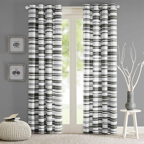 Intelligent Design Strider Cotton Stripe Printed Single Curtain Panel
