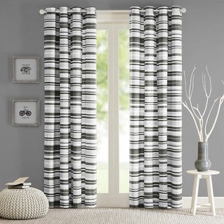 Intelligent Design Strider Cotton Stripe Printed Curtain Panel