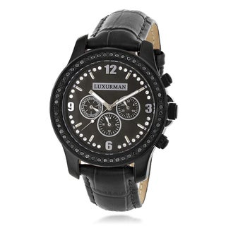 Luxurman Men's Raptor 2 1/4ct TDW Black Diamond Mop and Leather Band Watch