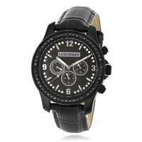 Luxurman Men's Raptor 2 1/4ct TDW Black Diamond Mop and Leather Band Watch