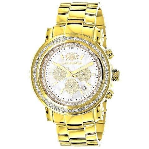 Luxurman Yellow Goldplated Steel Men'S 2 1/2Ct Tdw Diamond Bezel Watch