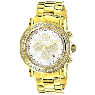 Luxurman 18k Yellow Goldplated Steel Men's 2 1/2ct TDW Diamond Bezel Watch