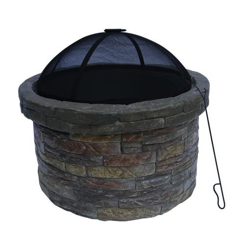 Peaktop - 27 Inch Outdoor Round Stone Wood Burning Fire Pit in Great with Cover