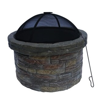 Peaktop Outdoor Round Stone Fire Pit with Cover