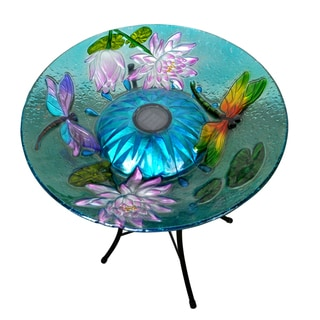 Peaktop Outdoor Garden Solar Dragonfly Glass Bird Bath