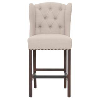 Margo Linen Fabric Tufted Wing Back Counter Stool Free