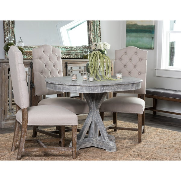 rockie wood 47 inch grey oval dining table by kosas home
