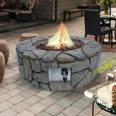 Peaktop 28 Inch Outdoor Round Stone Propane Gas Fire Pit